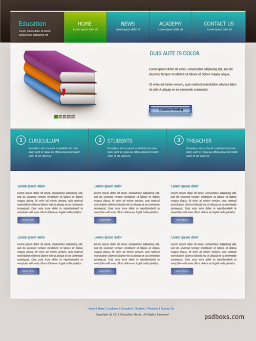 Free PSD Education Web Design