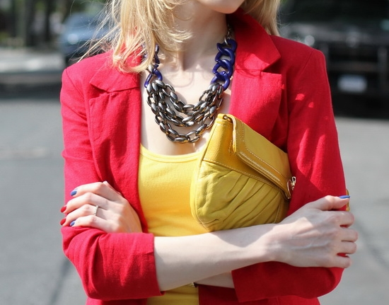 Yochi New York Statement Link Necklace Abercrombie & Fitch Yellow Ribbed Tank Asos Red Linen Workwear Blazer Perlina New York Yellow Leather Clutch