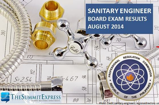 List of Passers: Sanitary Engineer board exam results August 2014