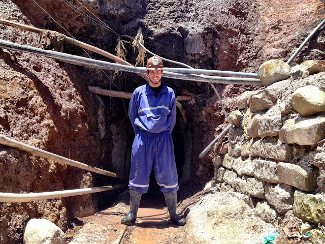 Simon at the tourist mine in Potosi, Bolivia