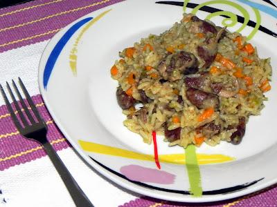 como fazer arroz com coração de galinha