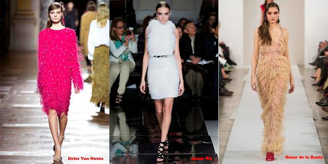 Tendencias mujer otoño/invierno 2013/14 vestido plumas: Dries Van Noten, Jason Wu y Oscar de la Renta.