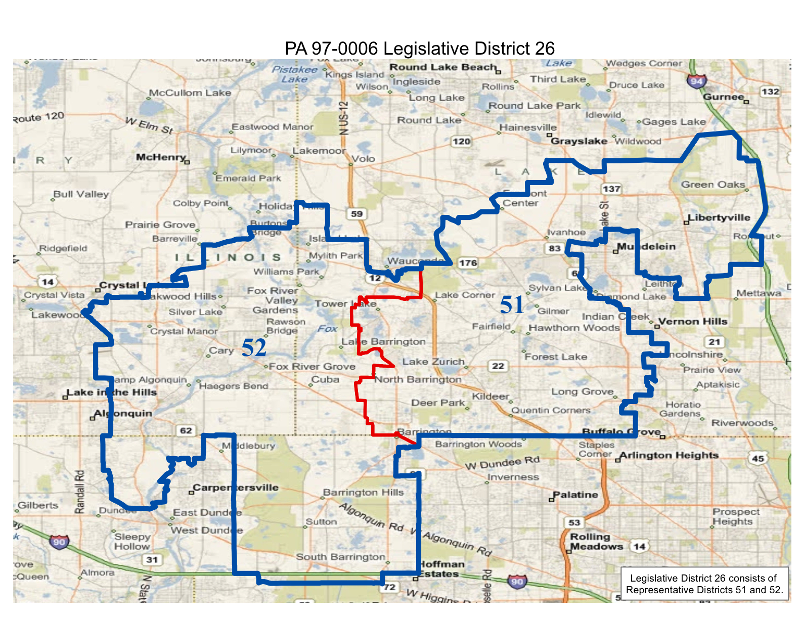 map of realigned illinois state 26th legislative district and illinois state representative districts 51 and 52