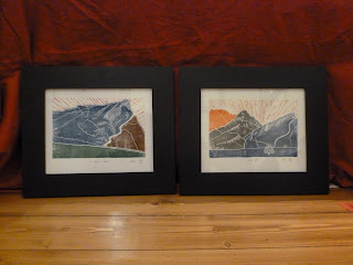 two framed prints by Hand Press Print, Arthur's Seat and the Radical Road,Edinburgh