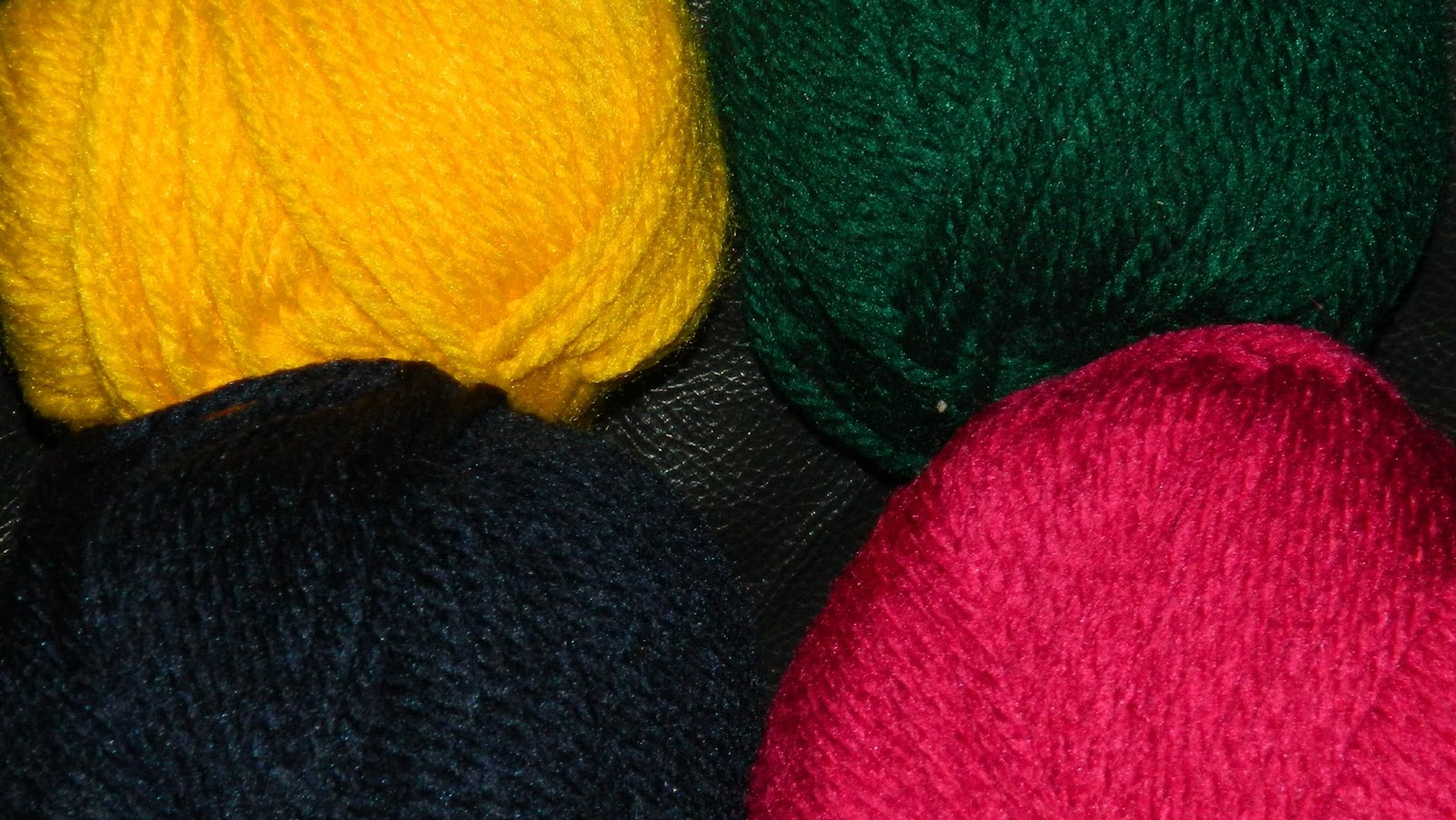 yellow, green blue, red yarn