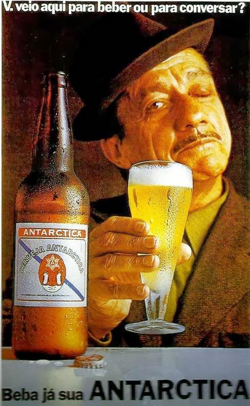 Propaganda da Cerveja Antártica com Adoniran Barbosa em 1972.