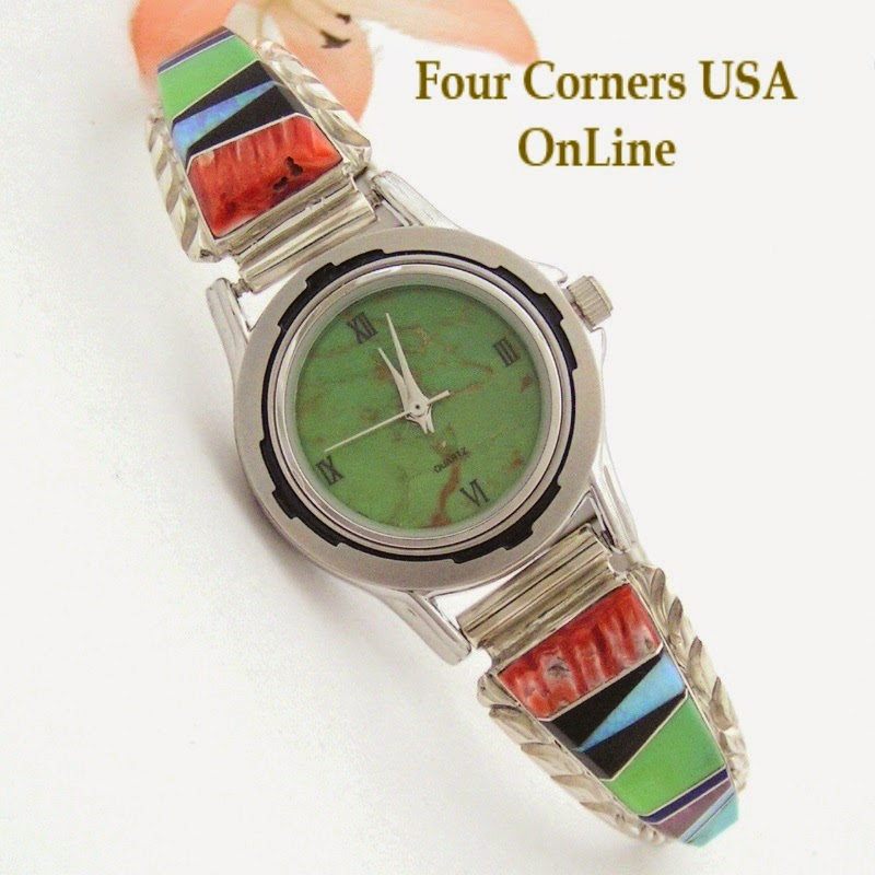 Women's Multi Color Inlay Sterling Watch Shown with Mohave Green Turquoise Face Navajo Arnold Yazzie Four Corners USA OnLine Native American Jewelry NAW-1427