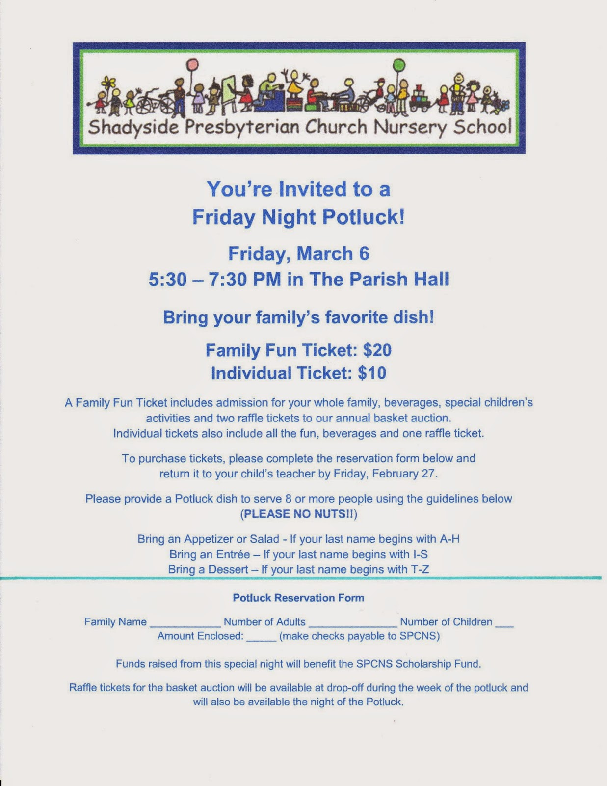 Potluck Next Friday March 6 Print And Return Your Reservation Form Today