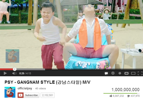 Gangnam style 1billion views on youtube