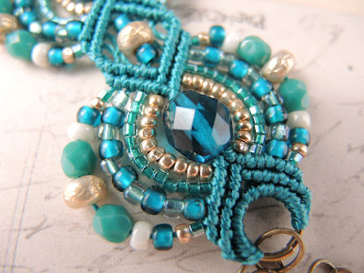Beaded micro macrame bracelet in peacock colors