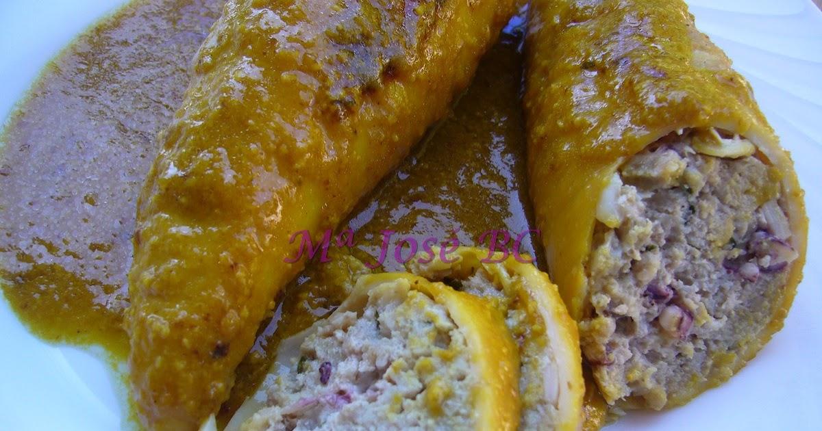 No dejamos ni las migas calamares rellenos de carne en salsa de almendras - Salsa para relleno de carne ...