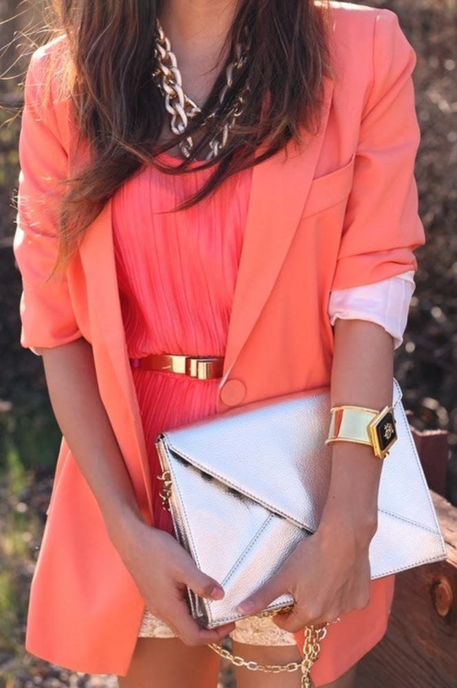 Pink dress with golden purse