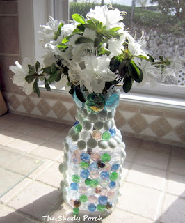 DIY Suncatcher Vase -  from orange juice bottle