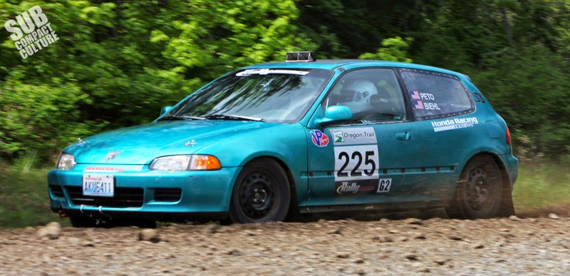 Teal Honda Civic EG rally car