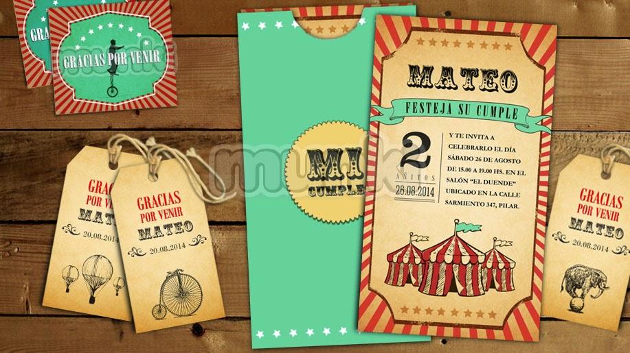 Kit Imprimible Circo Vintage Niño Niña Munki