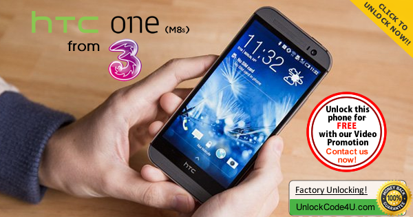 Factory Unlock Code for HTC One M8s from 3 Network