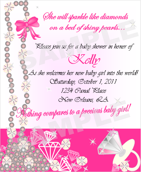 Pearls And Diamonds Baby Shower Invites