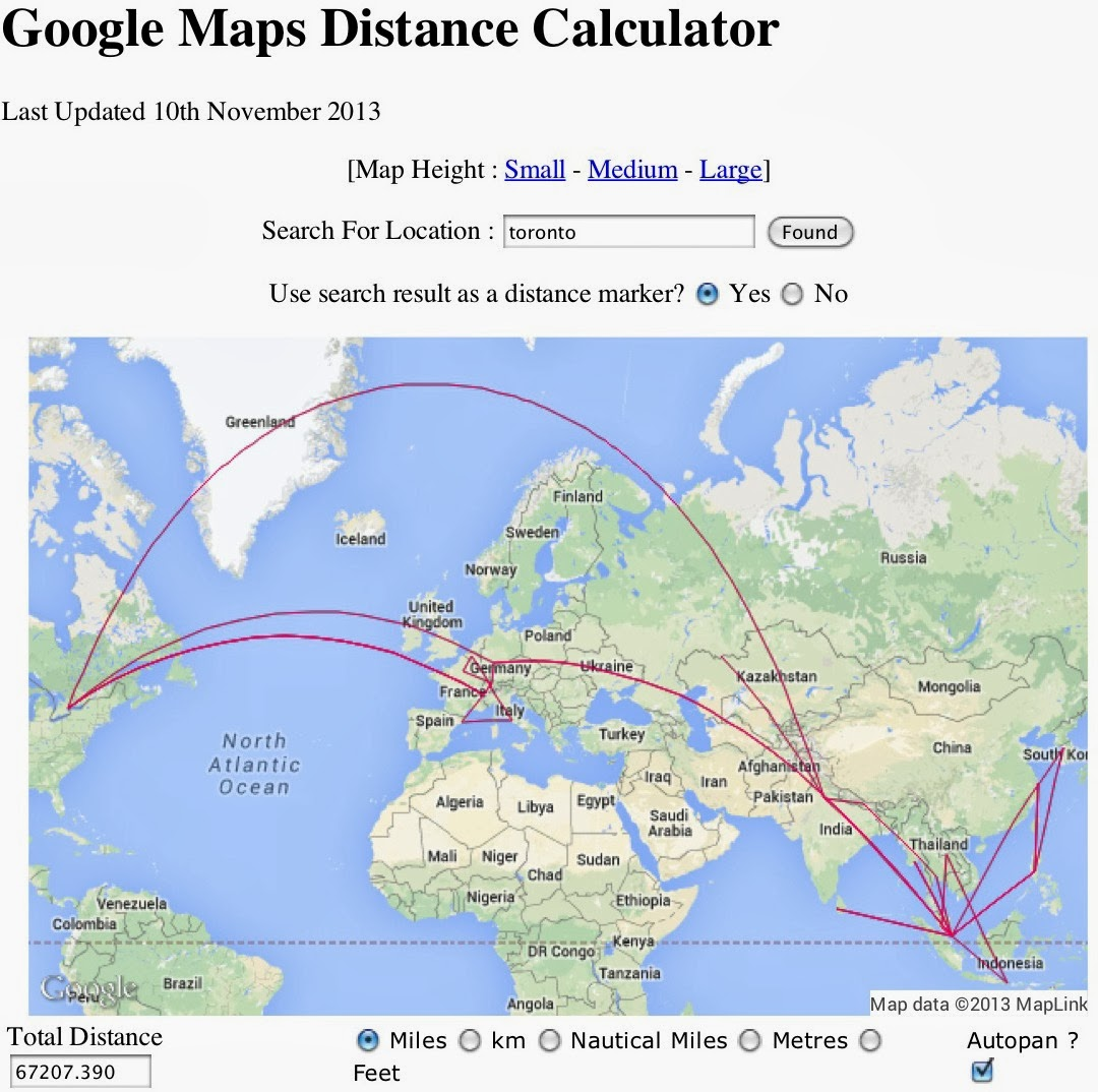 on distance travelled map