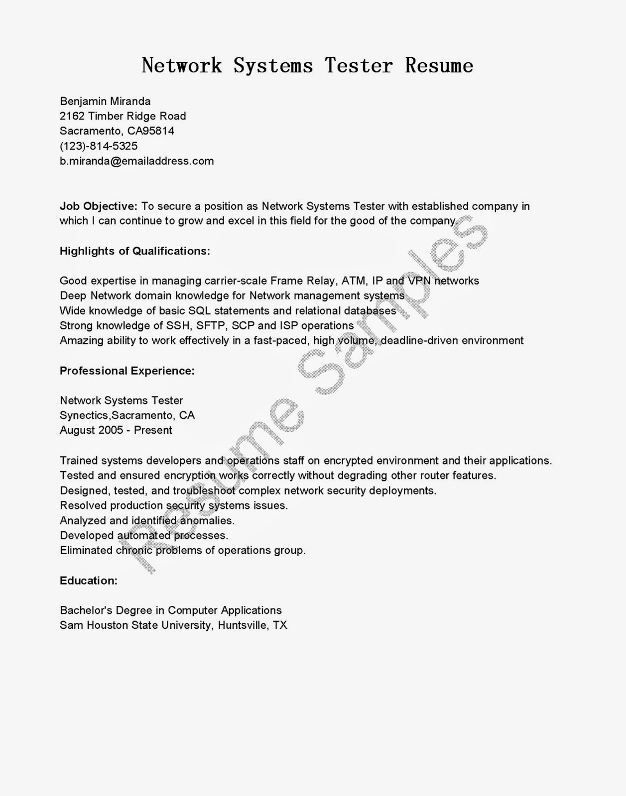 Sample video game tester resume