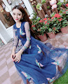 Pheonix Embroidery Blue Lace Evening Prom Dress