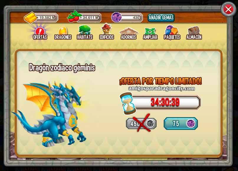 imagen del dragon geminis por 75 gemas en dragon city