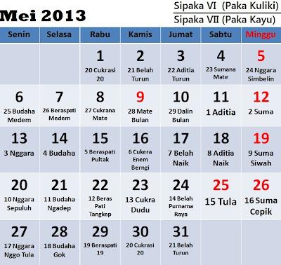 Kalender Karo: Bulan Mei 2013 (Sipaka VI = Paka Kuliki/Sipaka VII = Paka Kayu)