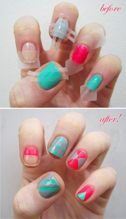 DIY Nail Designs with Scotch Tape