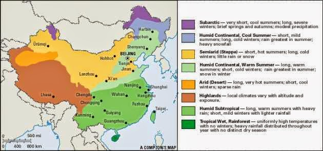 A great climate map of China describing weather conditions tourists may enouncter.
