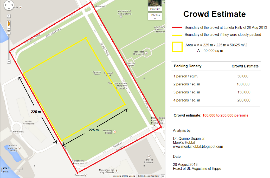Photo of Luneta crowd during 26 Aug 2013 with boundary lines yellow and red. Photo by Google Maps.