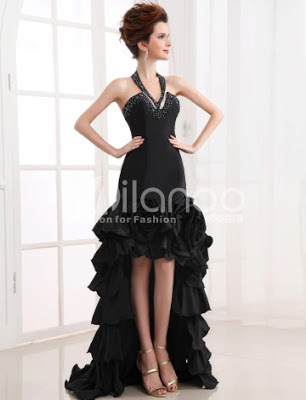 Slim Noir Fractionnement main Fleur Halter robe de soirée en taffetas
