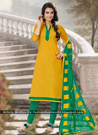 Yellow And Green Dual Color Contrast Asian Suit For Girls