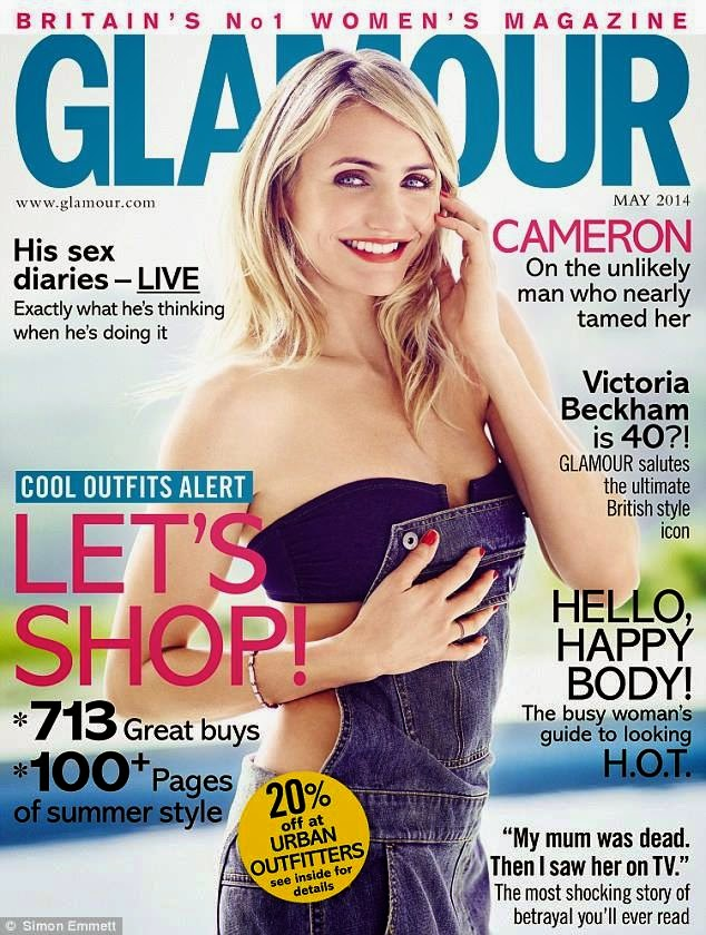Cameron Diaz covers Glamour UK May 2014 in denim overalls