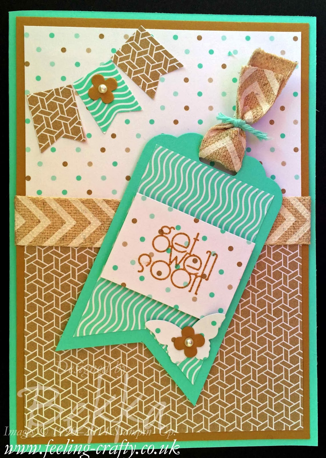 Scallop Top Tag Punch Get Well Soon Card by UK based Stampin' Up! Demonstrator Bekka Prideaux - get everything you need for this card here