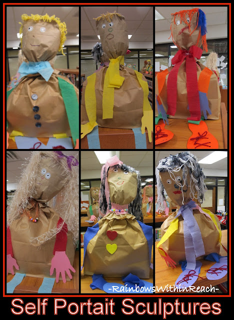 Self portrait sculptures from paper bags. Preschool project &quot;All About Me&quot; 