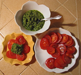 Plate of Tomatoes, Bowl of Pesto, Small Plate of Tomatoes with Pesto