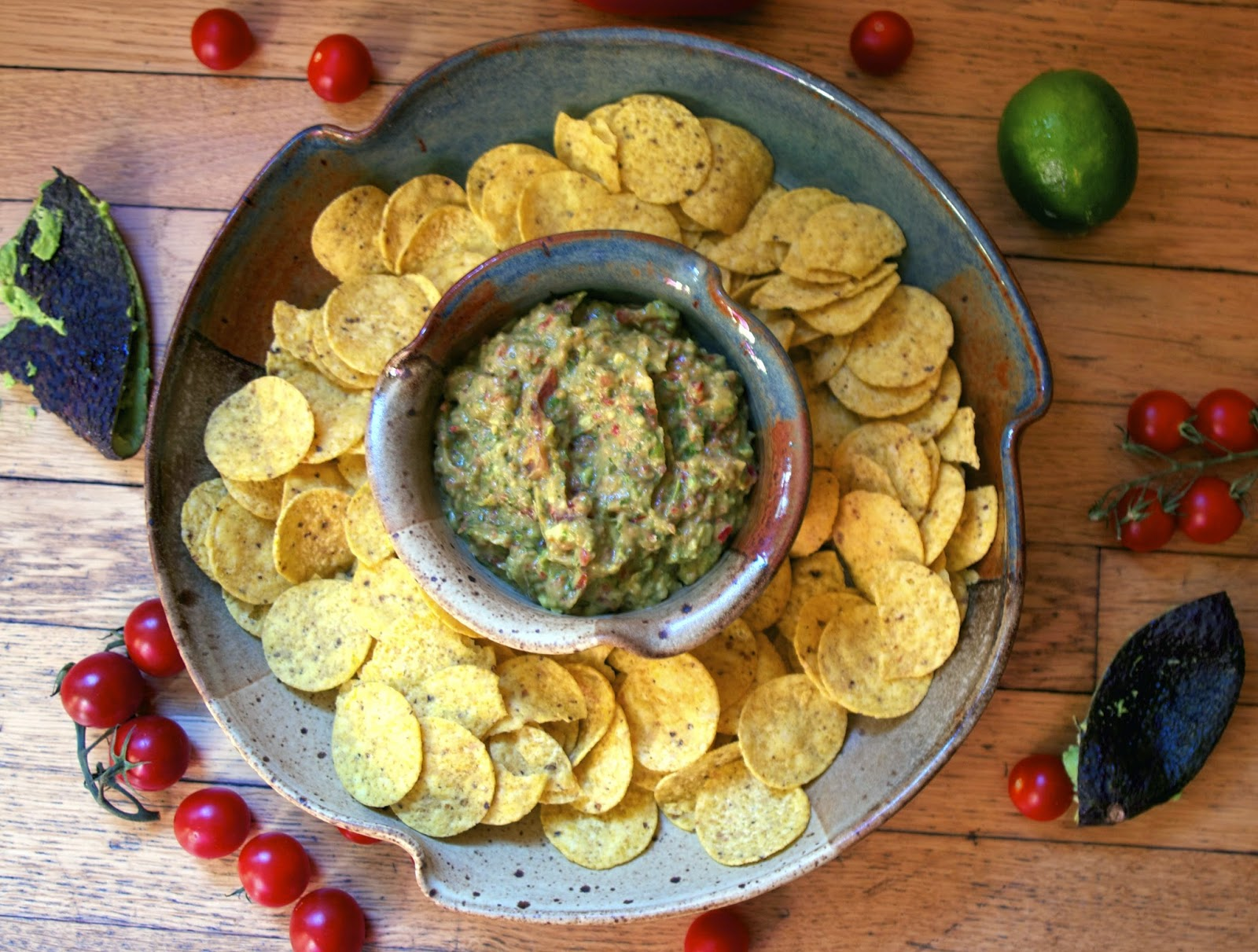 Guacamole with Tomatoes & Bell Peppers-simplelivingeating.com