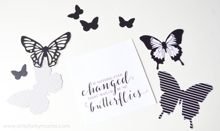 Foil Butterfly Wall Art Tutorial at artsyfartsymama.com #HSMinc