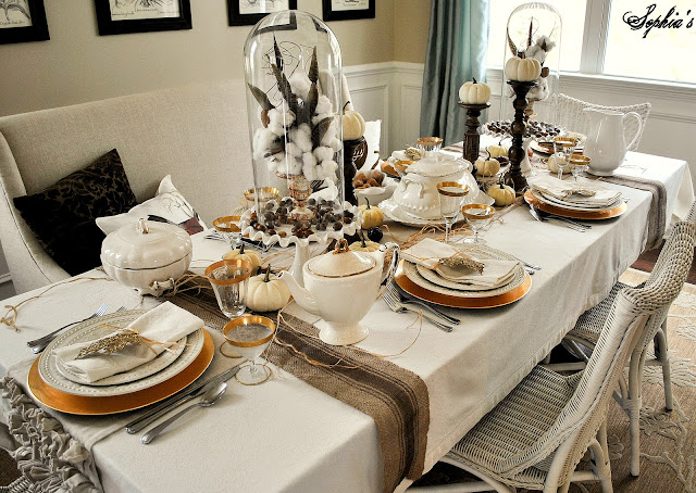 Sophia 39 s thanksgiving table setting for Dining room table setup ideas