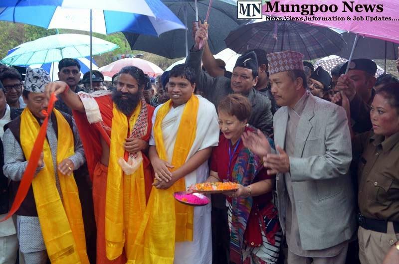 Baba Ramdev inaugurates Jogighat Steel Bridge with Bimal Gurung Acharya Balkrishna