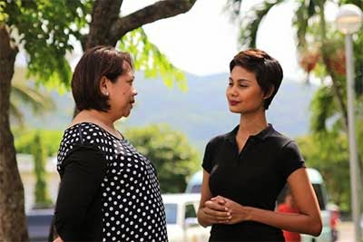Venus Raj visits Catanduanes to discuss with the governor several of the island's tourist destinations. Photo: Catanduanes Provincial Information Management Office
