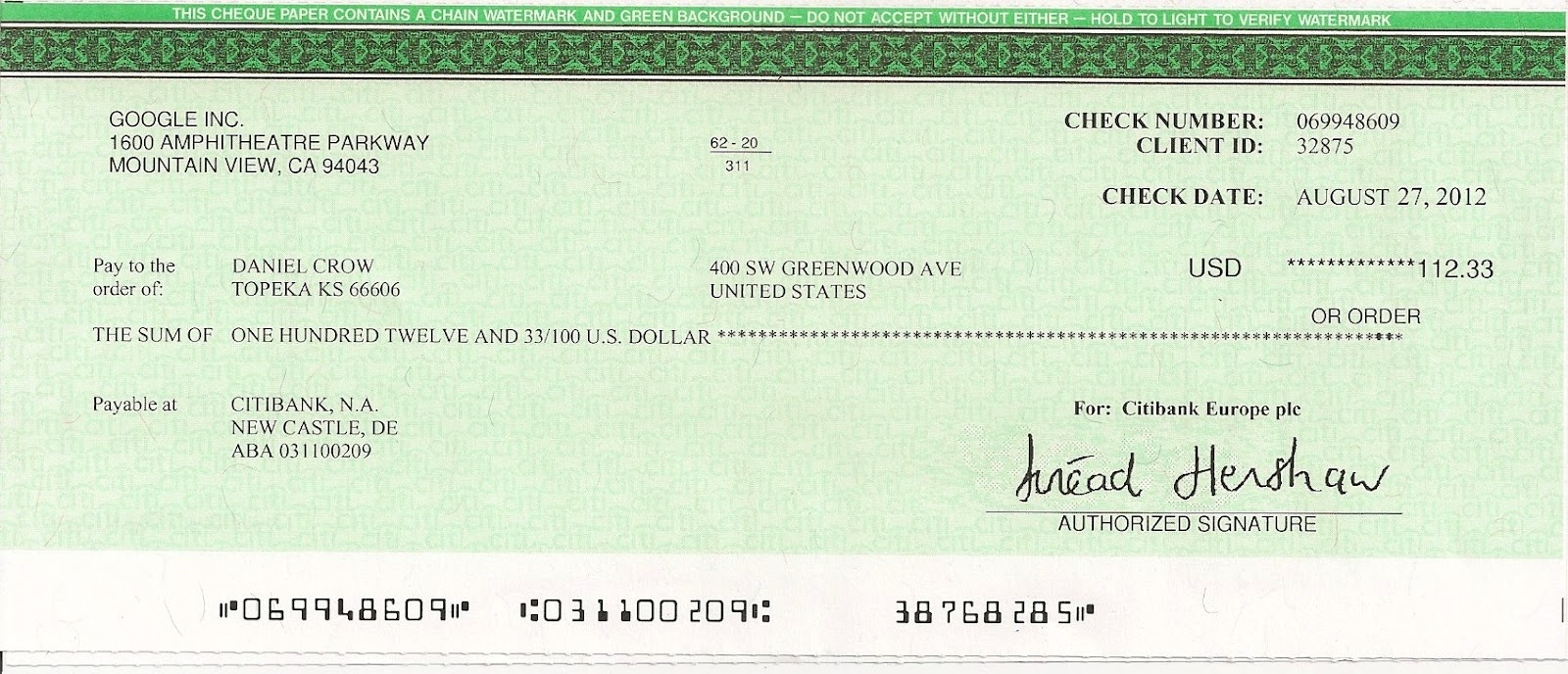 the world of crow another check from google