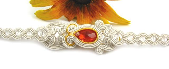 Bransoletka ślubna sutasz z pomarańczowymi kryształami Swarovski