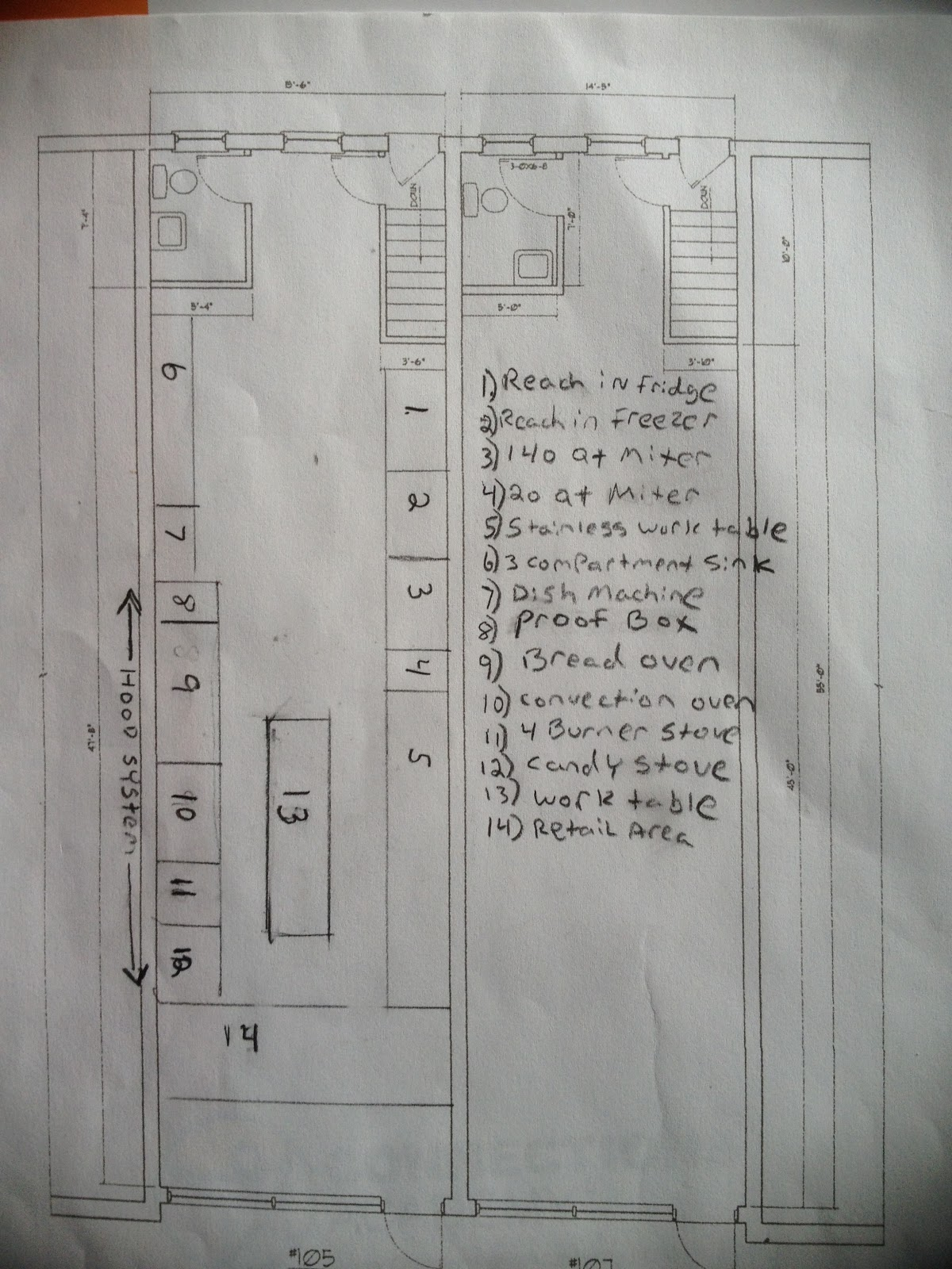 To Build A Bakery February 2013 Three Phase Wiring Diagram Hobart Fryer Installation Fire Suppression Etc He Then Takes All Of The Specs And Puts Them Into Computer Program Called Cad Voila Out Comes Floor Plan