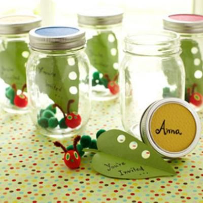 caterpillar party invitations, handmade bugs in jars