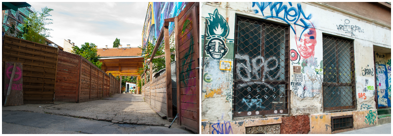 Budapest Jewish Quarter graffiti and back alley decorations