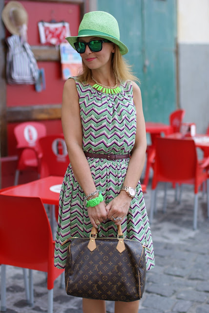chevron dress, summer dress, green panama hat, Louis Vuitton Speedy 30, fashion blogger, Fashion and Cookies