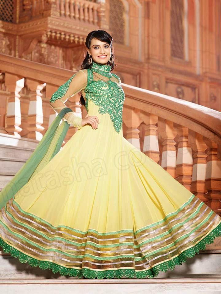 YELLOW SEMI GEORGETTE ANARKALI