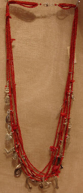 Long Necklace Red Coral & Medals - PP- Nec 1