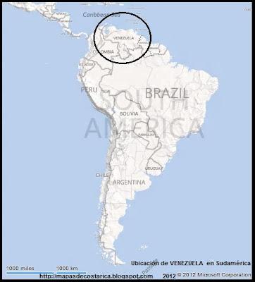 Ubicación de VENEZUELA en Sudamérica, BING