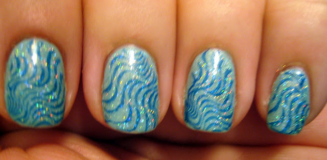 "Holographic Blue Water Nails"" title="
